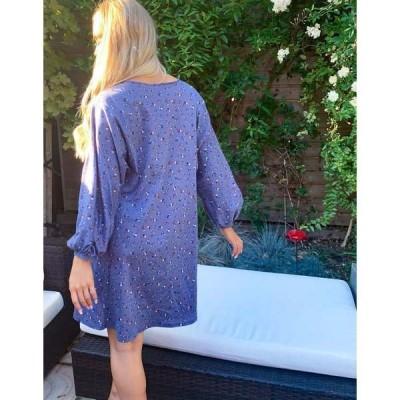 エイソス レディース ワンピース トップス ASOS DESIGN mini v neck swing dress in blue ditsy floral Gray ditsy floral