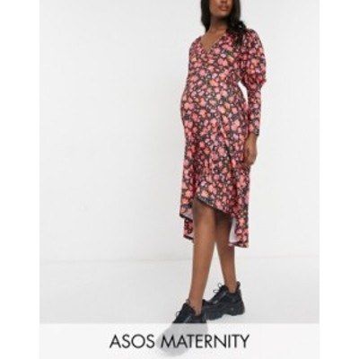 エイソス レディース ワンピース トップス ASOS DESIGN Maternity long sleeve detail midi dress in pink floral Pink floral