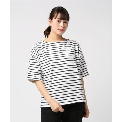 tシャツ Tシャツ 厚手ボーダードロップショルダーボートネックプルオーバー