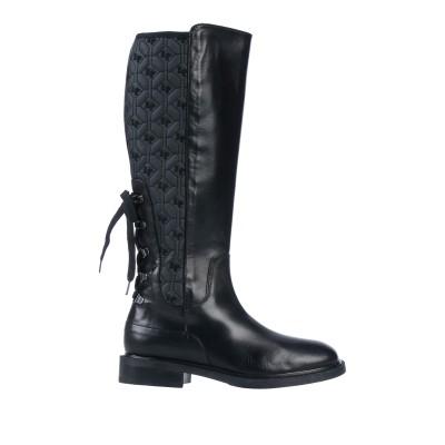 LORETTA PETTINARI ブーツ ブラック 38 革 / 紡績繊維 ブーツ