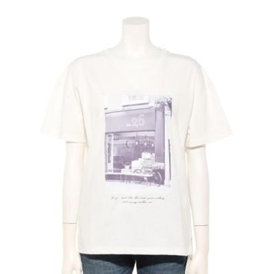 INTERPLANET (インタープラネット) レディース コットンフォトプリントTシャツ オフホワイト M