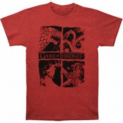 Red  ファッション トップス Game Of Thrones &#034FOUR HOUSE SIGILS&#034 T-Shirt Red Tee NWT 100%Official & Authentic