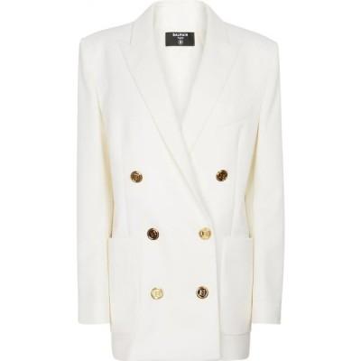 バルマン Balmain レディース スーツ・ジャケット アウター Double-breasted virgin wool blazer Blanc