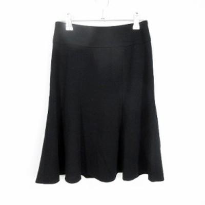 【中古】クイーンズコート QUEENS COURT スカート フレア ひざ丈 ウール 無地 0 黒 ブラック /MO レディース