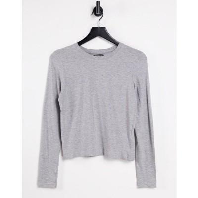 ブレーブソウル レディース Tシャツ トップス Brave Soul ellie long sleeve T-shirt in gray Grey