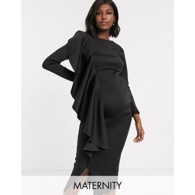 トゥルーヴァイオレット True Violet Maternity レディース ワンピース ミドル丈 ワンピース・ドレス midi dress with frill detail in black ブラック
