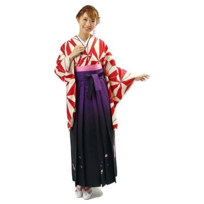 二尺袖 KNS-2 着物 ボカシ刺繍袴(SS・S) 重ね衿 長襦袢 おまかせ袴下帯 5点セット 卒業式に 麻の葉柄 赤 変り織