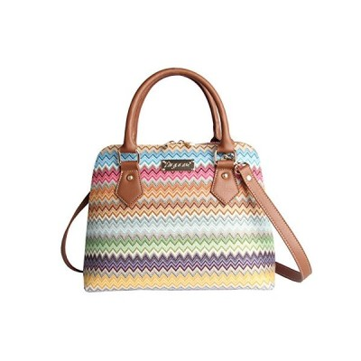 Signare Tapestry Handbag Satchel Bag Shoulder bag and Crossbody Bag and Purse for women with Rainbow Zig-Zag Aztec Design (CONV-AZT)