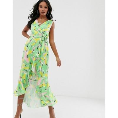 フラウンスロンドン レディース ワンピース トップス Flounce London wrap front midaxi dress in mixed print