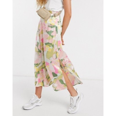セレクティッド レディース スカート ボトムス Selected Femme midi skirt with side split in waterlily floral print