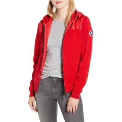 カナダグース ジャケット・ブルゾン アウター レディース Windbridge Hooded Sweater Jacket Red
