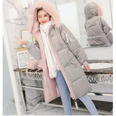 ダウンジャケット レディース ロングコート 冬服 厚手 ダウンコート 上品 中綿コート カジュアル 膝丈 アウター 青 ダウン 体型カバー 着痩せ 綿服 シンプル
