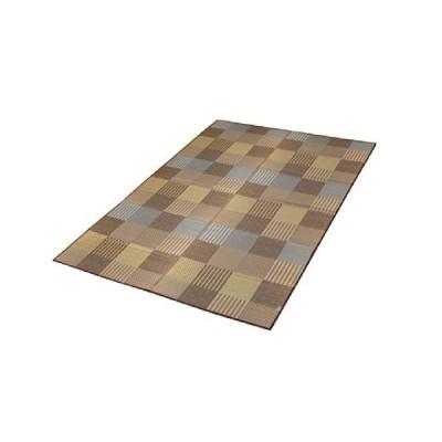 イケヒコ い草 花ござ カーペット 3畳 国産 『京刺子』 ブラウン 本間3畳 (約191×286cm)