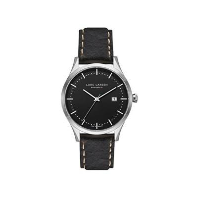 Lars Larsen LW19 Men's Quartz Watch with Black Dial Analogue Display and Brown Leather Strap 119SBDBL 並行輸入品