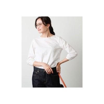 ニューヨーカー NEWYORKER ミニフラワー刺繍 クルーネック7分袖ブラウス (ホワイト)