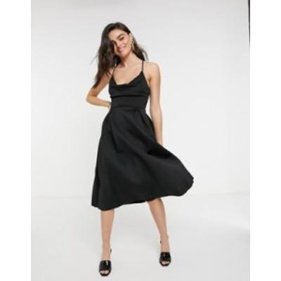 エイソス レディース ワンピース トップス ASOS DESIGN cowl neck cami midi prom dress in black Black