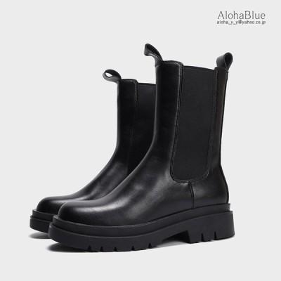サイドゴアブーツ ミドルブーツ ショートブーツ レディース ファッション ブーツ 厚底 黒 春 春 冬