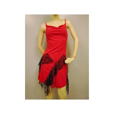 社交ダンス ダンス カラオケ 演奏会 コーラス ドレス レディース ダンスウェア 衣装 ラテンドレス モダンドレス  赤