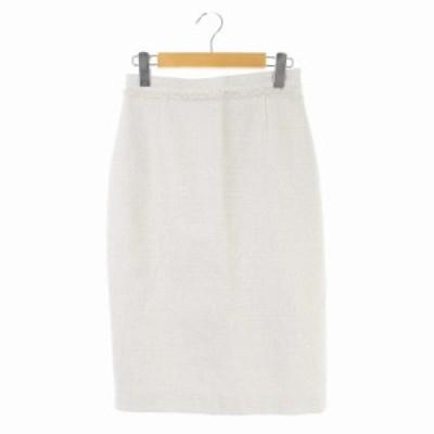 【中古】ユナイテッドアローズ UNITED ARROWS スカート タイト ロング ツイード 36 オフホワイト ライトピンク
