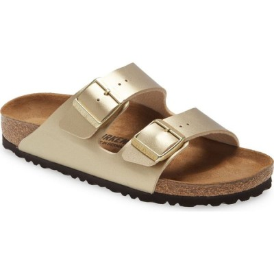 ビルケンシュトック BIRKENSTOCK レディース サンダル・ミュール スライドサンダル シューズ・靴 Arizona Birko-Flor Slide Sandal Gold Faux Leather