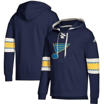 """アディダス メンズ パーカー """"St. Louis Blues"""" adidas Jersey Lace-Up Pullover Hoodie - Blue"""