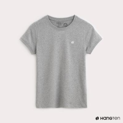 Hang Ten-有機棉-女裝全棉小LOGO素面圓領T-灰