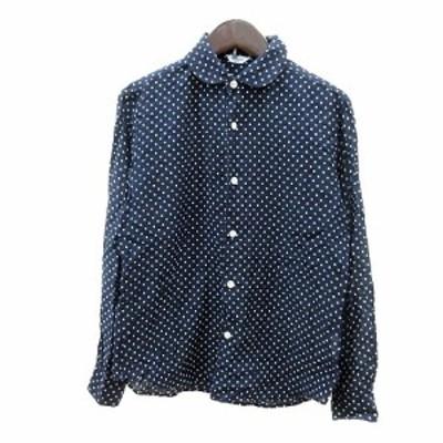 【中古】ルグラジック Le glazik シャツ ブラウス ラウンドカラー ドット 長袖 36 紺 ネイビー /MN レディース
