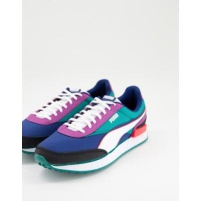 プーマ メンズ スニーカー シューズ Puma Future Rider sneakers in purple and green Purple/green