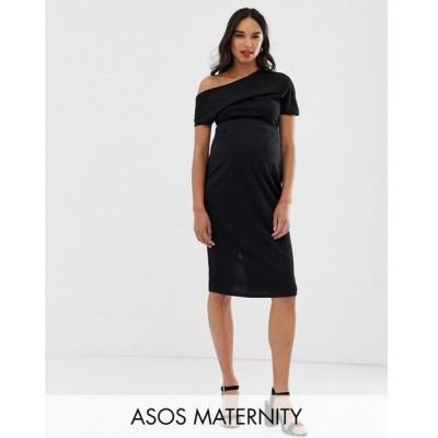 エイソス ASOS Maternity レディース ワンピース ワンピース・ドレス ASOS DESIGN Maternity pleated shoulder pencil dress Black
