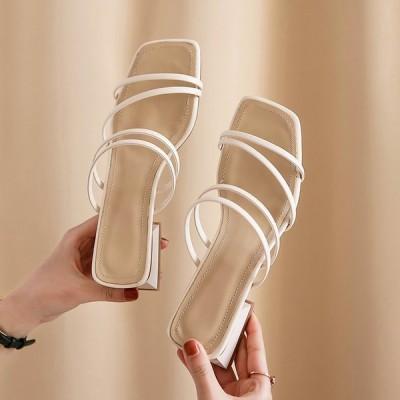 サンダル レディース 履きやすい 夏 サンダル ストラップサンダル ヒール ミュール シンプル 太いヒール 歩きやすい 大人 新作