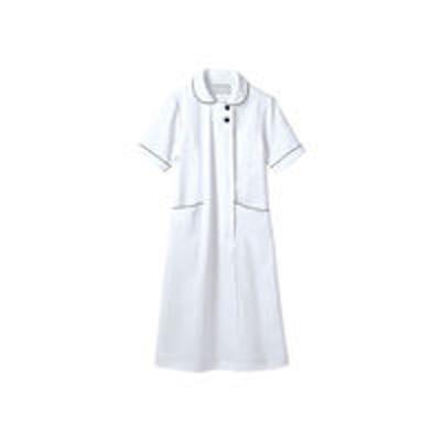住商モンブラン住商モンブラン ラウンドカラーワンピース ナースワンピース 医療白衣 半袖 ホワイト×ネイビー S 73-1958(直送品)