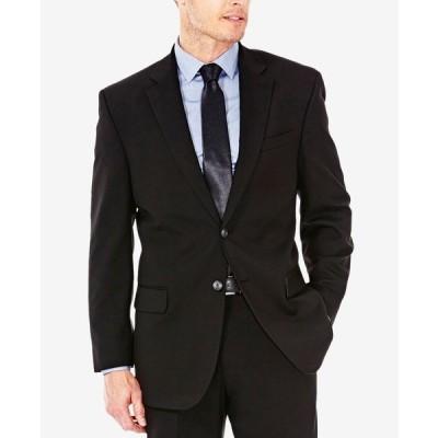 ハガール ジャケット&ブルゾン アウター メンズ J.M. Men's Classic/Regular Fit Stretch Sharkskin Suit Jacket Black