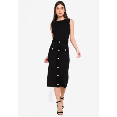ドレッシング パウラ Dressing Paula レディース ワンピース ワンピース・ドレス Button-embellished Stretch-knit Dress Black
