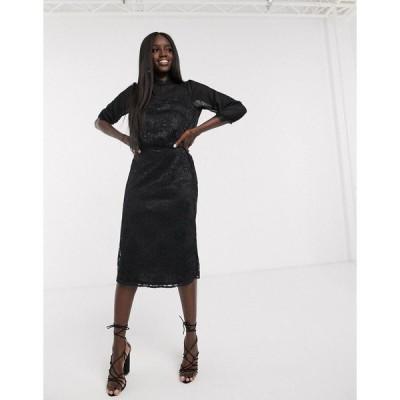 オアシス レディース ワンピース トップス Oasis lace midi dress in black Black