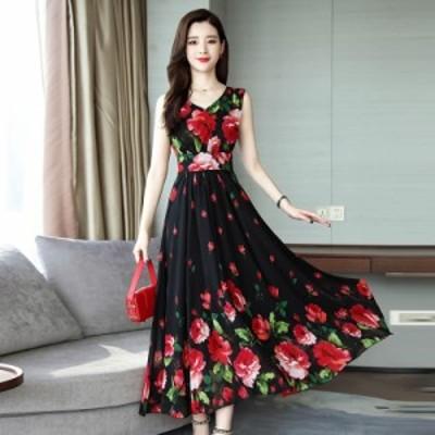 女性のエレガントなファッションの夏のシックなフラワープリント薄いウエストノースリーブロングAラインドレス