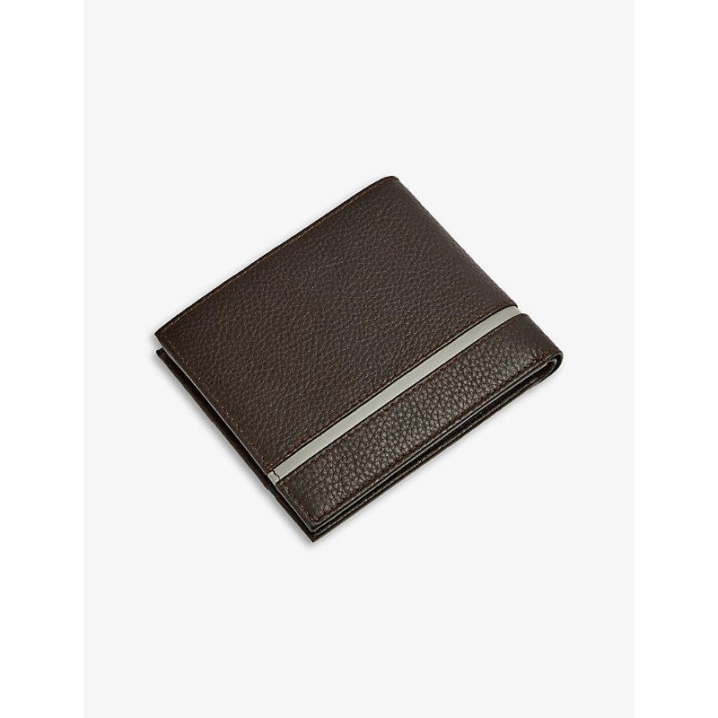 Logo-embossed leather bi-fold wallet
