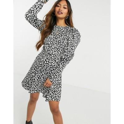 エイソス レディース ワンピース トップス ASOS DESIGN satin mini skater dress with puff sleeves in mono animal print