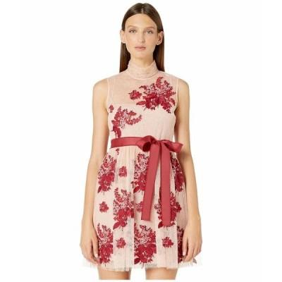 レッドヴァレンティノ ワンピース トップス レディース Floral Tapestry Embroidery, Tulle and Point D'Esprit Dress Bonbon/Lacca