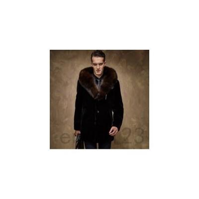 ファーコートメンズ毛皮コートロッグコートフェイクファーフード付きアウターメンズコート高級おしゃれ上着暖かい防寒冬服秋服新作