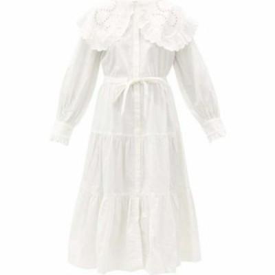 シー Sea レディース ワンピース シャツワンピース ワンピース・ドレス Marina broderie-anglaise collar cotton shirt dress White