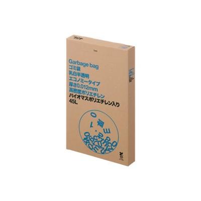 アスクル乳白半透明ゴミ袋エコノミー高密度タイプ HD 45L 1箱(100枚入) アスクル