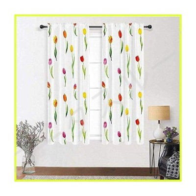"""GugeABC Cafe Curtains 96 inch Length, Watercolor Flower Decor Thermal Insulated Curtains 72"""" x 96"""" - Colorful Tulips Pattern Country Style F"""