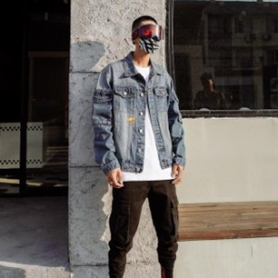 デニムジャケット メンズ カジュアル ジャケット 秋用 ジージャン コート Gジャン 折り襟 ゆったり 長袖 ヒップホップ ストリート コート