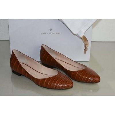 フラットシューズ 海外セレクション Nancy Gonzalez CRISTINA Crocodile Alligator Flats Cognac Shoes 40