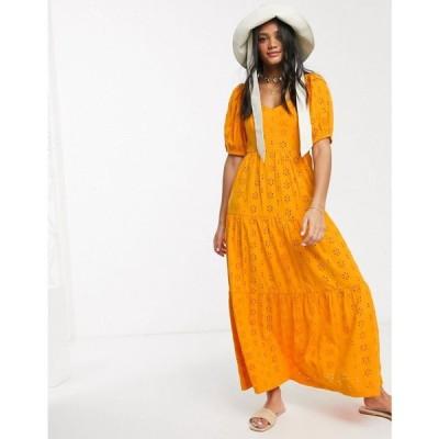 エイソス ASOS DESIGN レディース ワンピース ティアードドレス ワンピース・ドレス Asos Design Tiered Broderie Maxi Dress In Orange オレンジ