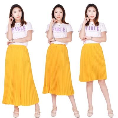 レディース プリーツフレアスカート スカート ロングスカート ウエストゴム 体型カバー 着痩せ 無地 ゆったり お出かけ ふんわり 通勤 夏 ひざ丈 韓国ファッション 9色