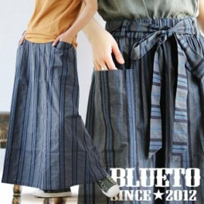 スカート くるぶしまで隠れる マキシ丈 マキシスカート ベイカーポケット ウエストゴム リボン 刺繍で描いた ランダム ストライプ 薄手