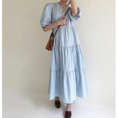 ワンピース ロング 春 韓国 ファッション レディース フレア Vネック ティアード ゆったり 大人可愛い カジュアル シンプル