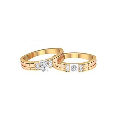 Unique Wedding Rings Set, Matching Couple Rings, HI-SI 1/2 CT Diamond Engag