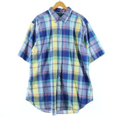ラルフローレン Ralph Lauren 半袖 ボタンダウンチェックシャツ メンズXXXL /eaa149695
